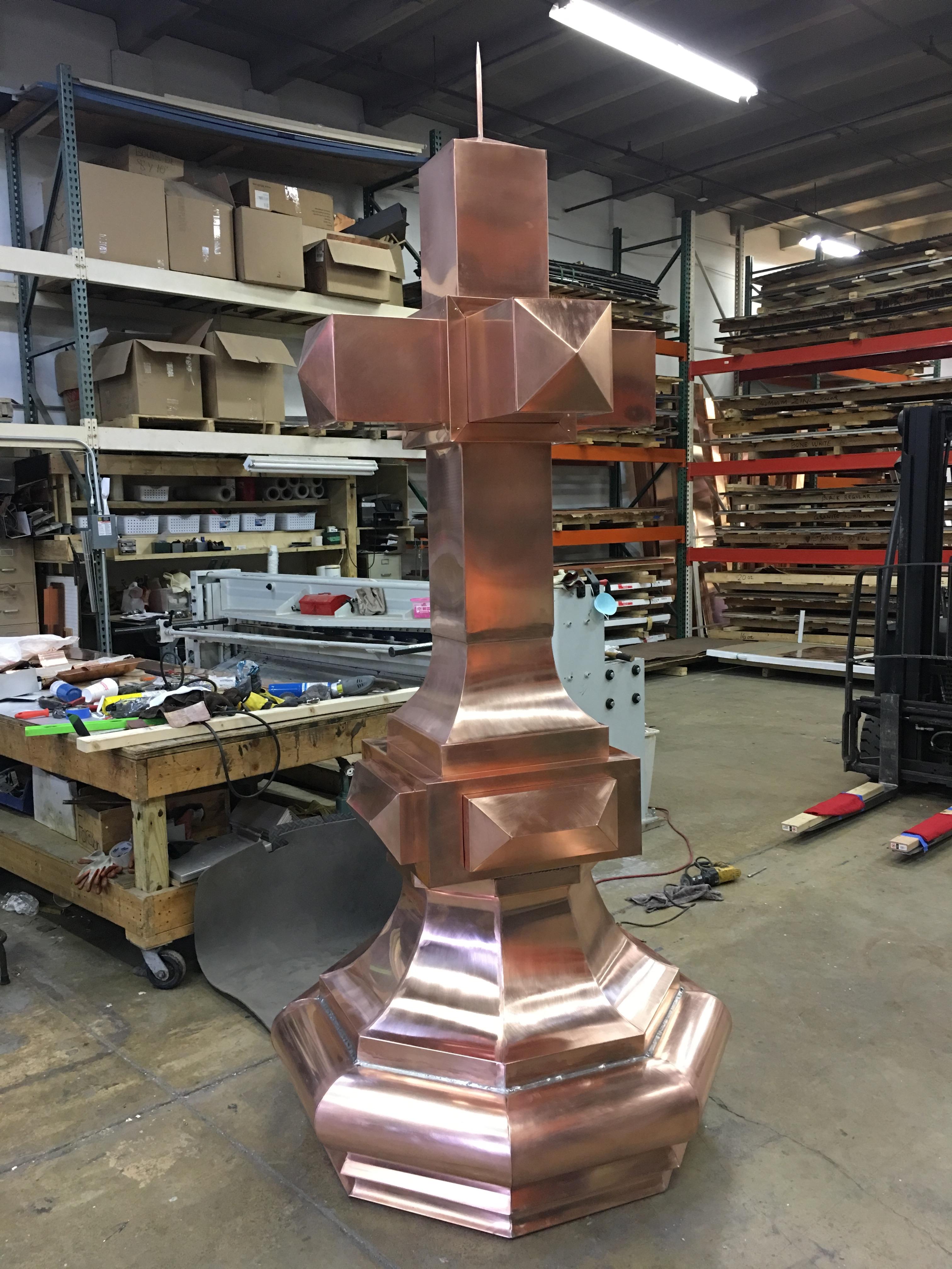 Custom Copper Cross Finial