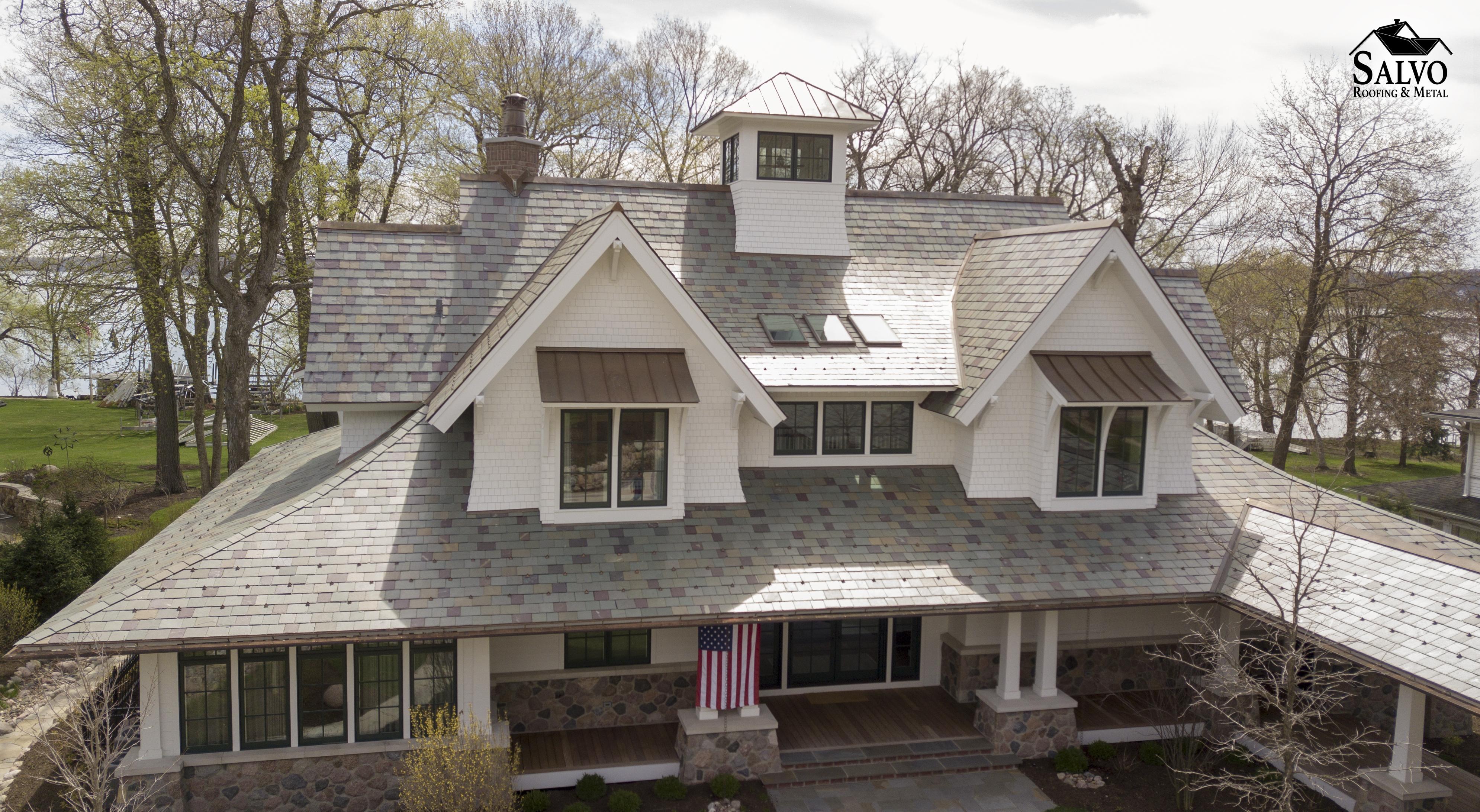Aerial Hybrid Slate Roof